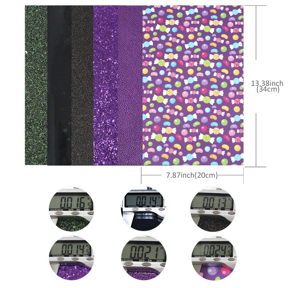 Halloween-Theme-Candy-Pumpkin-Printed-Solid-Color-Glitter-Faux-Leather-Set miniature 9