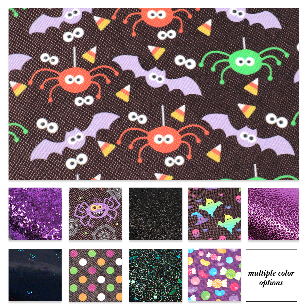 Halloween-Theme-Candy-Pumpkin-Printed-Solid-Color-Glitter-Faux-Leather-Set miniature 7