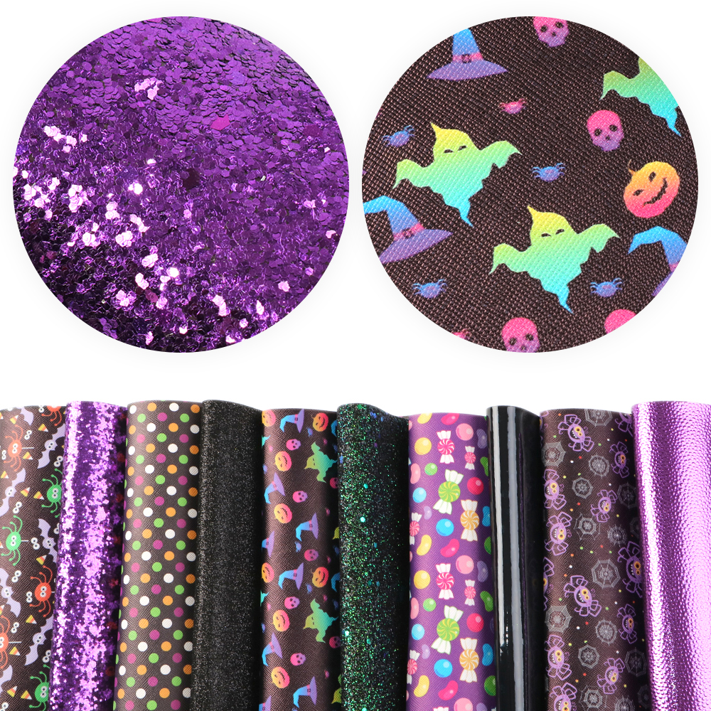 Halloween-Theme-Candy-Pumpkin-Printed-Solid-Color-Glitter-Faux-Leather-Set miniature 4